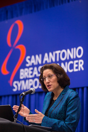 San Antonio, TX -SABCS 2013 San Antonio Breast Cancer Symposium: Hope S. Rugo, M.D.,  addresses the discusses her research S5-02 during a press conference session at the 2013 San Antonio Breast Cancer Symposium here today, Friday December 13, 2013. Over 7500 physicians, researchers, patient advocates and healthcare professionals from over 90 countries attended the meeting which features the latest research on breast cancer treatment and prevention.<br /> Photo by © SABCS/Todd Buchanan 2013 Technical Questions: todd@medmeetingimages.com