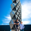 "Nicholas Bruscia (left), Clinical Assistant Professor and Christopher Romano (right) Research Assistant Professor of Architecture at the site of their structure ""Project 2XmT"" in Silo City, Buffalo, NY<br /> <br /> Photographer: Douglas Levere"