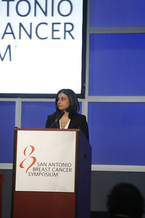 "`San Antonio, TX - SABCS 2014 San Antonio Breast Cancer Symposium - Adelson KB discusses ""S6-03.  Randomized phase II trial of fulvestrant alone or in combination with bortezomib in hormone receptor-positive metastatic breast cancer resistant to aromatase inhibitors: A New York cancer consortium trial"" during General Session 6 here today, Friday December 12, 2014. during the San Antonio Breast Cancer Symposium being held at the Henry B. Gonzalez Convention Center in San Antonio, TX. Over 7,500 physicians, researchers, patient advocates and healthcare professionals from over 90 countries attended the meeting which features the latest research on breast cancer treatment and prevention. Photo by © MedMeetingImages/Todd Buchanan 2014  Technical Questions: todd@medmeetingimages.com"