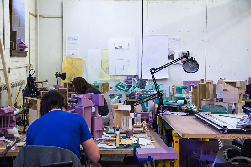 Freshman working in studio