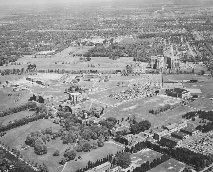 Aerial view South Campus, University Archives, 06_1955, 06/1955, call number: 10:10 (6)