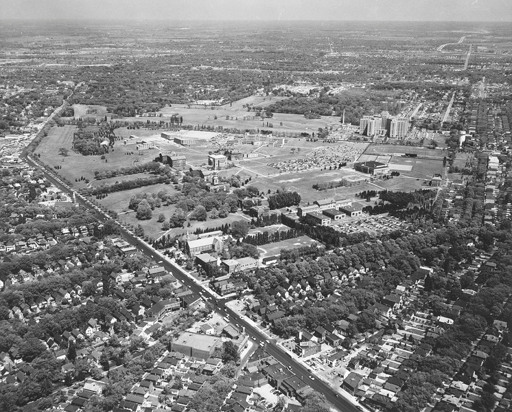 Aerial view South Campus, University Archives, 1955, call number: 10:10 (2)