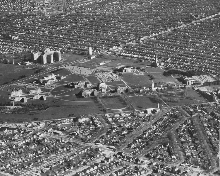 Aerial view South Campus, University Archives, 1954, call number: 10:08