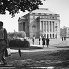 Student approaching Lockwood Library, University Archives, 1950, call number: 20N:20(7)