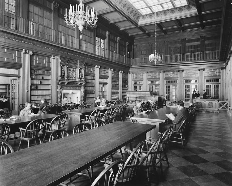 Main reading room, Lockwood Library, University Archives, ca. 1950, call number: 20N:21(6)