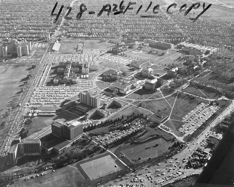 Aerial view South Campus, University Archives, 1960's, call number: 10:15 (3)