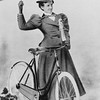 Woman with bicycle and UB flag, <br /> University Archives, 1898, <br /> 1898 Iris, call number: 80D