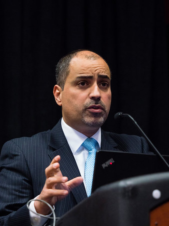 San Antonio, TX - SABCS 2016 San Antonio Breast Cancer Symposium - Mothaffar F. Rimawi, MD speaks during the press conference here today, Thursday December 8, 2016. during the San Antonio Breast Cancer Symposium being held at the Henry B. Gonzalez Convention Center in San Antonio, TX. Over 7,500 physicians, researchers, patient advocates and healthcare professionals from over 90 countries attended the meeting which features the latest research on breast cancer treatment and prevention. Photo by © MedMeetingImages/Todd Buchanan 2016  Technical Questions: todd@medmeetingimages.com
