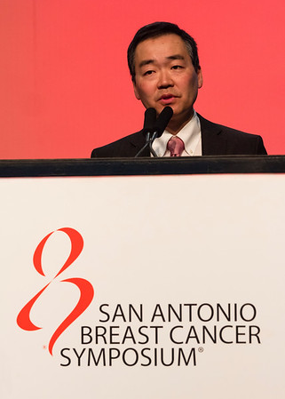 San Antonio, TX - SABCS 2016 San Antonio Breast Cancer Symposium - Ben Ho Park, MD, PhD speaks during PLENARY LECTURE 2 here today, Thursday December 8, 2016. during the San Antonio Breast Cancer Symposium being held at the Henry B. Gonzalez Convention Center in San Antonio, TX. Over 7,500 physicians, researchers, patient advocates and healthcare professionals from over 90 countries attended the meeting which features the latest research on breast cancer treatment and prevention. Photo by © MedMeetingImages/Todd Buchanan 2016  Technical Questions: todd@medmeetingimages.com