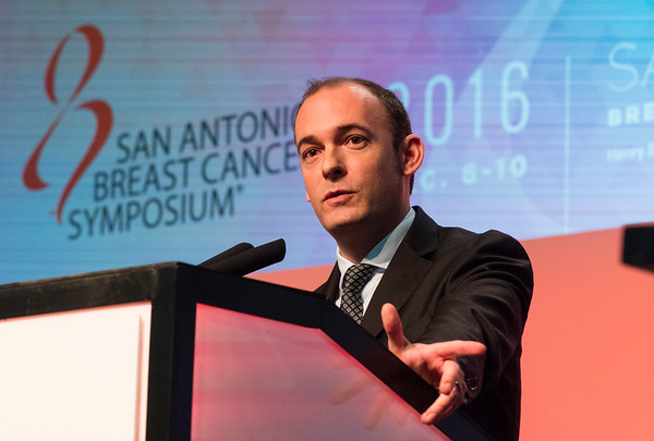San Antonio, TX - SABCS 2016 San Antonio Breast Cancer Symposium -  A Prat Aparicio speaks during GENERAL SESSION 3 here today, Thursday December 8, 2016. during the San Antonio Breast Cancer Symposium being held at the Henry B. Gonzalez Convention Center in San Antonio, TX. Over 7,500 physicians, researchers, patient advocates and healthcare professionals from over 90 countries attended the meeting which features the latest research on breast cancer treatment and prevention. Photo by © MedMeetingImages/Todd Buchanan 2016  Technical Questions: todd@medmeetingimages.com