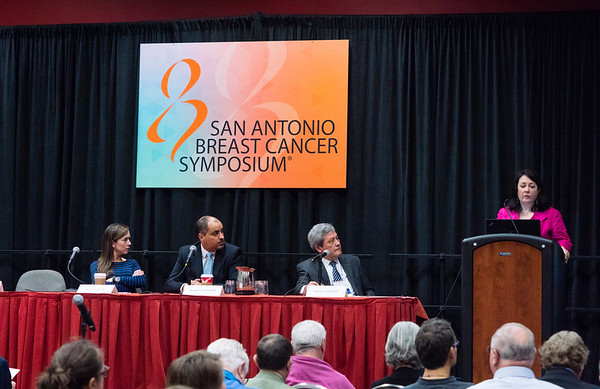 San Antonio, TX - SABCS 2016 San Antonio Breast Cancer Symposium - Ruth O'Regan, MD speaks during the press conference here today, Thursday December 8, 2016. during the San Antonio Breast Cancer Symposium being held at the Henry B. Gonzalez Convention Center in San Antonio, TX. Over 7,500 physicians, researchers, patient advocates and healthcare professionals from over 90 countries attended the meeting which features the latest research on breast cancer treatment and prevention. Photo by © MedMeetingImages/Todd Buchanan 2016  Technical Questions: todd@medmeetingimages.com