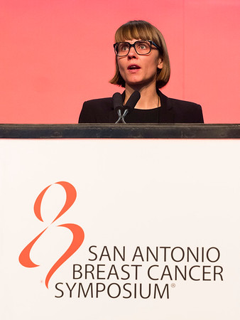 San Antonio, TX - SABCS 2016 San Antonio Breast Cancer Symposium - L Langhans speaks during GENERAL SESSION 3 here today, Thursday December 8, 2016. during the San Antonio Breast Cancer Symposium being held at the Henry B. Gonzalez Convention Center in San Antonio, TX. Over 7,500 physicians, researchers, patient advocates and healthcare professionals from over 90 countries attended the meeting which features the latest research on breast cancer treatment and prevention. Photo by © MedMeetingImages/Todd Buchanan 2016  Technical Questions: todd@medmeetingimages.com