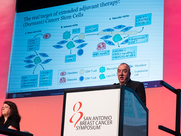 San Antonio, TX - SABCS 2016 San Antonio Breast Cancer Symposium - Discussant Michael Gnant, MD, FACS speaks during the GENERAL SESSION 1 here today, Wednesday December 7, 2016. during the San Antonio Breast Cancer Symposium being held at the Henry B. Gonzalez Convention Center in San Antonio, TX. Over 7,500 physicians, researchers, patient advocates and healthcare professionals from over 90 countries attended the meeting which features the latest research on breast cancer treatment and prevention. Photo by © MedMeetingImages/Todd Buchanan 2016  Technical Questions: todd@medmeetingimages.com