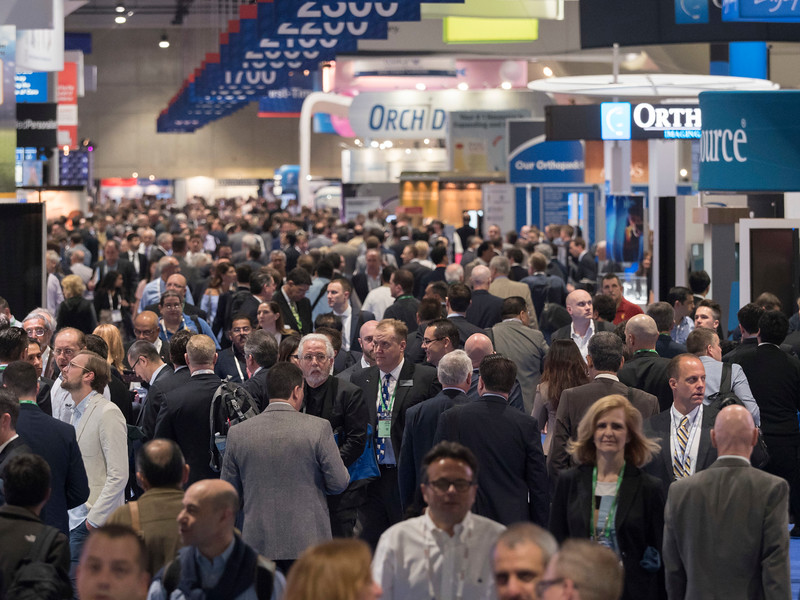 Attendees during Exhibit Hall opening