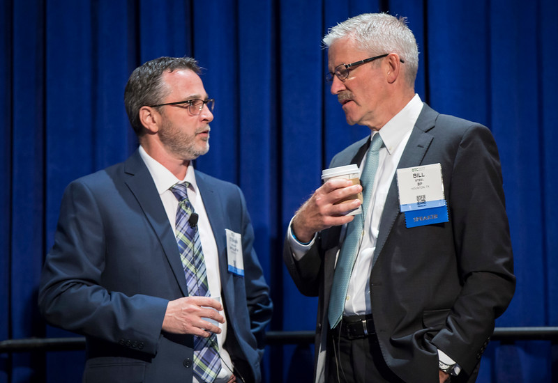 Bill Steel, right, and Stephan Drouaud during Morning Technical Session: Mad Dog Field: A Multi-Disciplinary Look at the Opportunities, Technology Breakthroughs, Challenges and Learnings of a Giant Deepwater Field Development