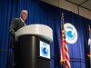 Ryan Zinke, Secretary, Department of Interior, United States speaks with Session Moderators David Holt, President, Consumer Energy Alliance and signs orders directing the Bureau of Ocean Energy Management to issue a new five-year plan for development on the U.S. Outer Continental Shelf during Afternoon Technical Sessions: Offshore Energy Policies: Harnessing the Full Potential of America's Offshore