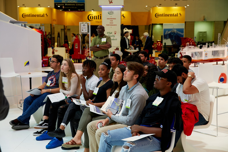 Houston, TX - OTC 2017 - Students tour the OTC NRG Center during the Energy Education Institute: High School Student STEM Event at the Offshore Technology Conference here today, Thursday May 4, 2017. The OTC hosts the meeting at the NRG Park which has over 90,000 attendees from around the world to see the latest technology in the energy industry. Photo by © OTC/Ben Depp 2017 Contact Info: todd@corporateeventimages.com Category: General Views Keywords: General Views