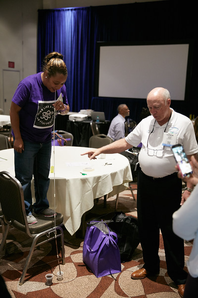 Houston, TX - OTC 2017 - Teachers perform experiments during the Energy Education Institute: High School Student STEM Event at the Offshore Technology Conference here today, Thursday May 4, 2017. The OTC hosts the meeting at the NRG Park which has over 90,000 attendees from around the world to see the latest technology in the energy industry. Photo by © OTC/Ben Depp 2017 Contact Info: todd@corporateeventimages.com Category: General Views Keywords: General Views