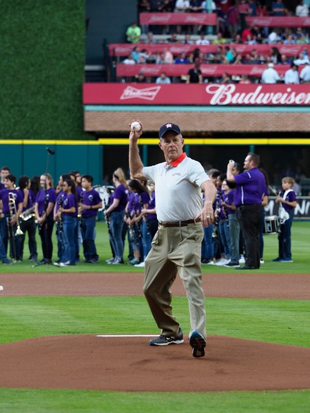 Joe Fowler throws out the first pitch                                                          during Night at the Ballpark