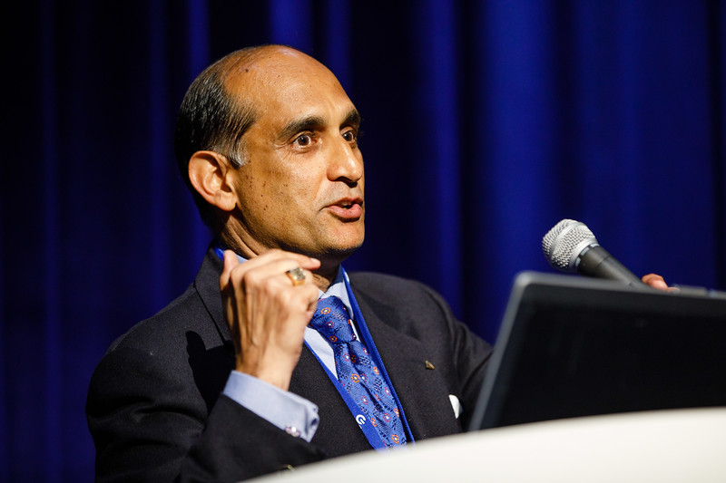 Session Chairperson Sandeep Khurana speaks during Topical Luncheon: Financing Deepwater Development