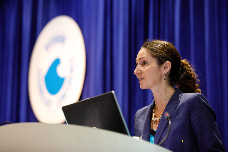 Session Moderator Kassia Yanosek, Associate Partner, McKinsey & Co. Inc., speaks during Afternoon Technical Sessions: Bringing Upstream Projects to Final Investment Decision (FID)