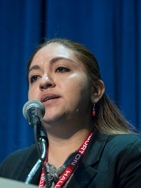 Gina Corona, of Haiburton, speaks during Morning Technical Session: Well Completions