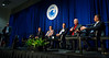 Session Moderator Buford Pollett, Assistant Professor, The University of Tulsa with speakers Evan Zimmerman, Executive Director, Offshore Operators Committee, Kevin Sisk, Senior Vice President, Energy and Marine Group, Lockton and Michael Celata, Regional Director, Bureau Ocean Energy Management (BOEM), Gulf of Mexico Region during Morning Technical Session: Well Abandonment and Decommissioning Challenges