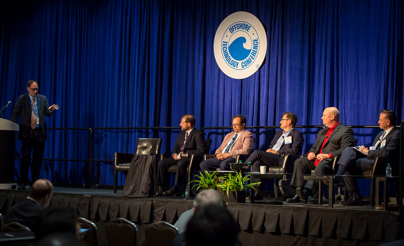 Session Moderator Buford Pollett, Assistant Professor, The University of Tulsa with speakers Evan Zimmerman, Executive Director, Offshore Operators Committee, Kevin Sisk, Senior Vice President, Energy and Marine Group, Lockton and Michael Celata, Regional