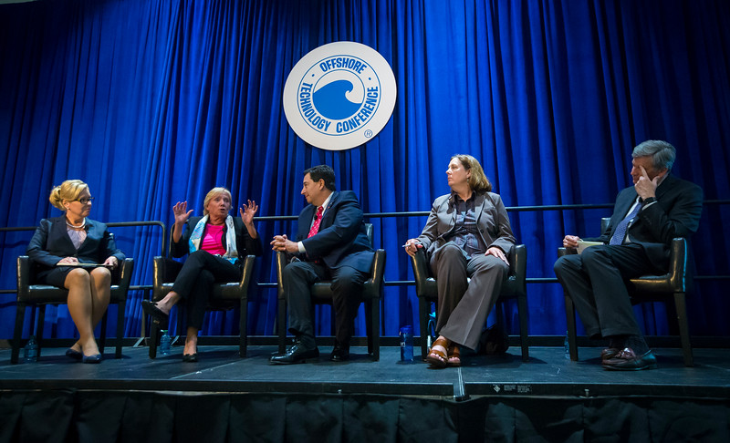 Session Chairperson Kimberly Faulk, Geoscience Earth & Marine Svc with Session Moderator Cathy Mann, Vice President, Marketing and Communications, ABS and speakers Geeta Thakorlal, President, INTECSEA, Dan Domeracki, Vice President Government and Industry Relations, Schlumberger Limited, Susan Morrice, Co-Founder and Chairperson, Belize Natural Energy LLC, Charles Sternbach, President, Star Creek Energy Janeen Judah, Chevron and Cris Gaut, CEO, Forum Energy Technologies during Networking Event: WISE: Women in the Industry Sharing Experiences: