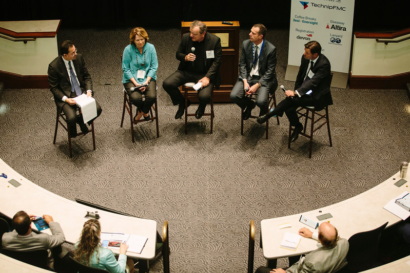 Moderator Ram Shenoy, The RBR Group with Panelists Susan Cunningham, Former, EVP EHSR and New Frontiers, Noble Energy, Dr. Mario Ruscev, EVP, President Global Product Lines & Chief Technology Officer, Weatherford,  Kristian Johansen, Chief Executive Officer, TGS-NOPEC Geophysical Company ASA  and Neal Anderson, President, Wood Mackenzie during Panel