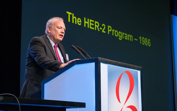 Dennis J. Slamon, MD, PhD gives the SUSAN G. KOMEN® BRINKER AWARD FOR SCIENTIFIC DISTINCTION IN CLINICAL RESEARCH lecture during General Session II