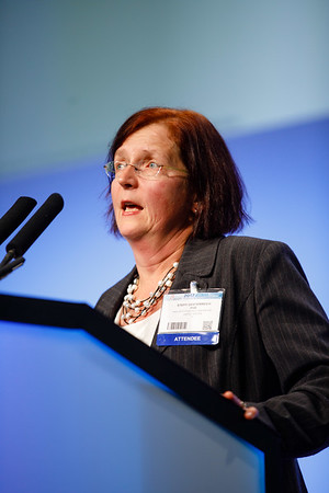 Steffi Oesterreich, PhD, speaks during the General Session