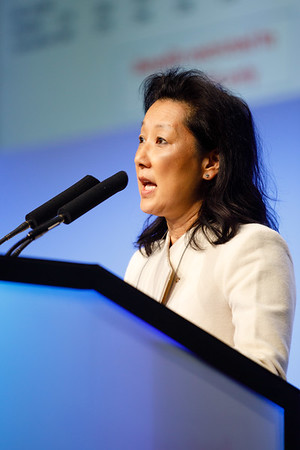E Shelley Hwang speaks during the Plenary Session