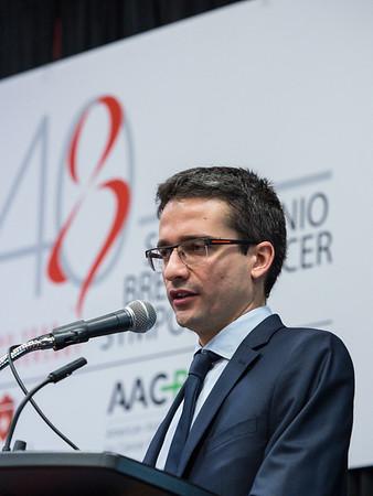 Matteo Lambertini, MD speaks during Thursday morning press conference