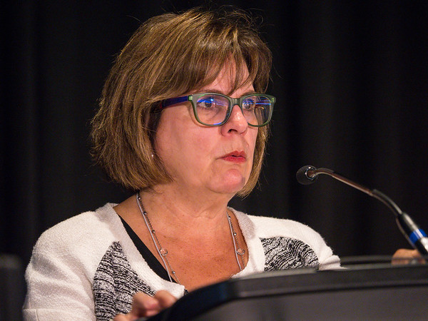 Amelie G. Ramirez, DrPH speaks during the Education Session: Multi-Level Influences on Breast Cancer Disparities