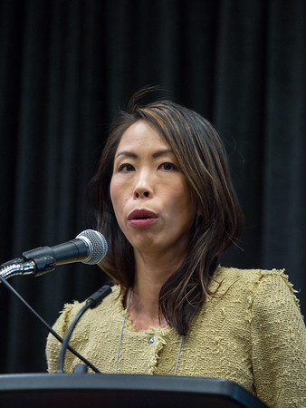 Sherene Loi, MD, PhD speaks during Tuesday afternoon press conference