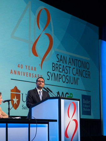 A Bardia, MD speaks during GENERAL SESSION 1