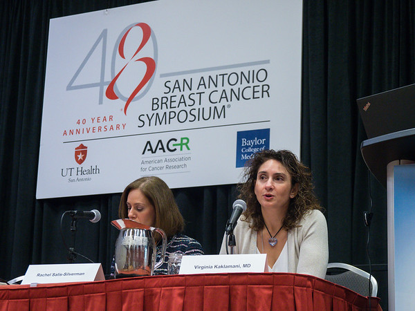 Moderator Virginia Kaklamani, MD speaks during the Opening Press Conference
