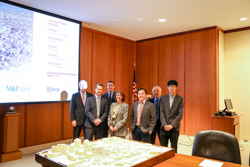 (from left to right): Professor Mark Foerster; Daniel Crowther (MS Arch/MS RED '17); Anthony Garofalo (MArch '18); Dawn Aprile (MS Arch/MS RED '17); Alan Chan (MArch/MUP '17); Professor Hiro Hata; Zhida Song (MUP '18)