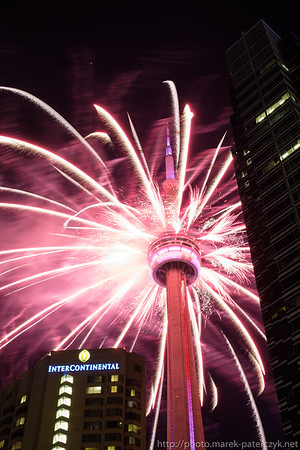 CN Tower on fire