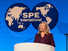SPE Program chair Sarah Ortwein speaks during Opening General Session