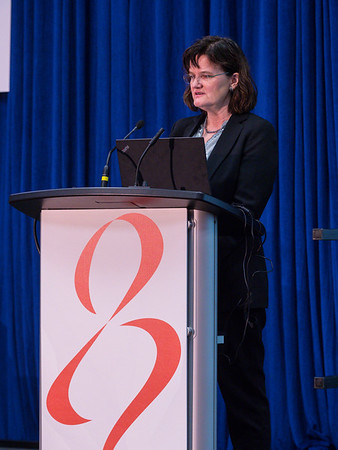Inger Thune, MD, PhD speaks during the morning press conference