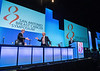 Harold Burstein, MD, PhD, left, and Daniel F. Hayes, MD, FACP, FASCO speak during Debate: Should All Women with Breast Cancer and Positive Lymph Nodes Receive Chemotherapy?