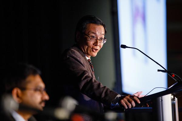 Rong Li, PhD, speaks during BRCA 1/2: Beyond DNA Repair