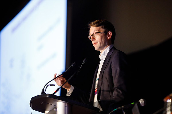 Nicholas Turner, PhD, FRCP, speaks during Molecular Biology in Breast Oncology workshop