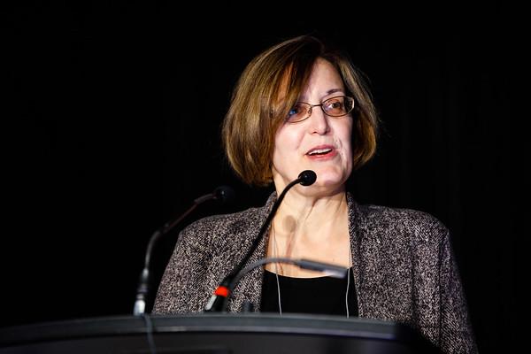 Lori S. Friedman, PhD, speaks during Molecular Biology in Breast Oncology workshop