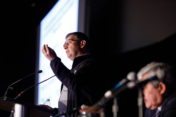 Samuel Aparicio, BM, BCh, PhD, FRCPath, speaks during Molecular Biology in Breast Oncology workshop