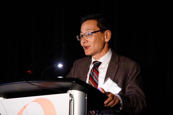 Rong Li, PhD, speaks during BRCA 1/2: Beyond DNA Repair