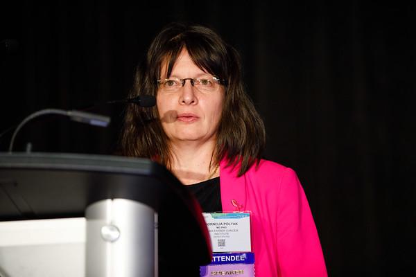 Kornelia Polyak, MD, PhD, speaks during Molecular Biology in Breast Oncology workshop