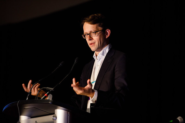 Nicholas Turner, PhD, FRCP, speaks during Molecular Biology in Breast Oncology workshop